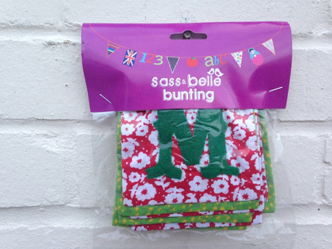 MERRY CHRISTMAS Bunting - Traditional Green and Red Fabric