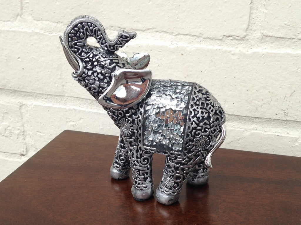 Trunk Up Small Elephant Ornament - Silver Black Finish -13cm