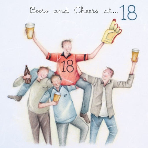 Mens 18th Birthday Card - Beers and Cheers at 18 - Berni Parker