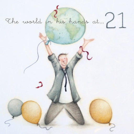 Mens 21st Birthday Card - The World In His Hands - Berni Parker