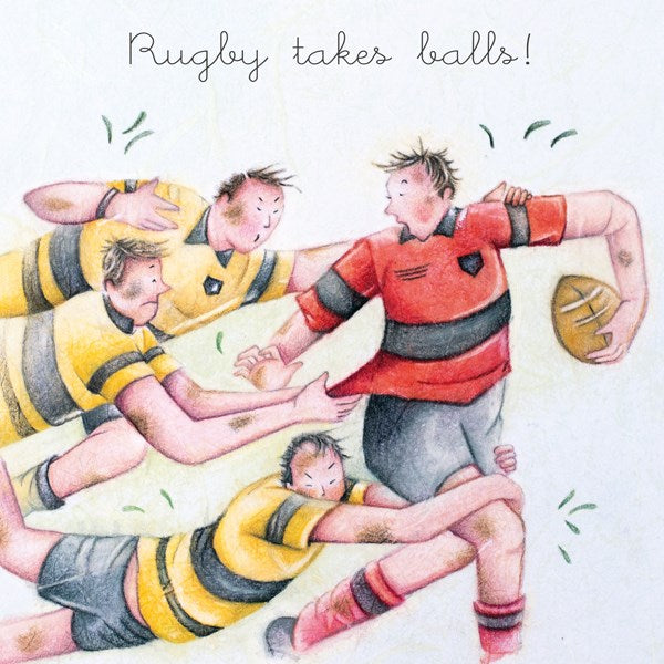 Rugby takes Balls! Man's Greeting Card