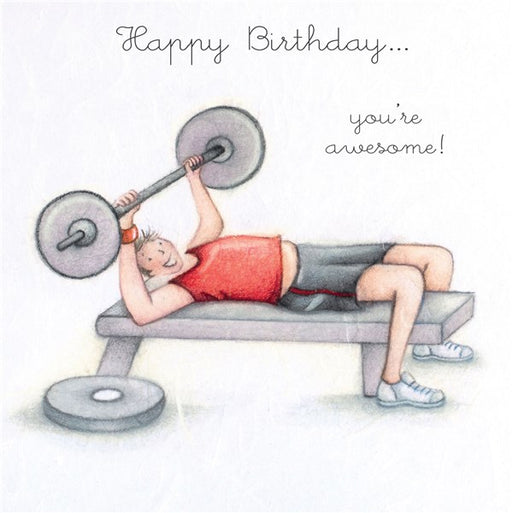 Happy Birthday...You're Awesome! Man's Gym Birthday Card