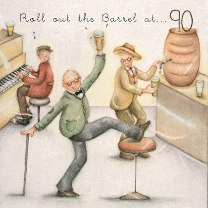 Gentleman's 90th Birthday Card - Roll out The Barrel at 90