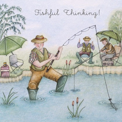 Fishing Greeting Card - Fishful Thinking!  Berni Parker