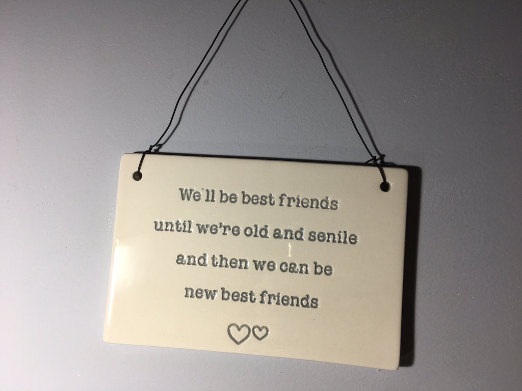 Old Friend Plaque - We'll be best friends until we're old and senile