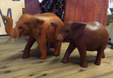 Hand Carved Brown African Elephant - Small