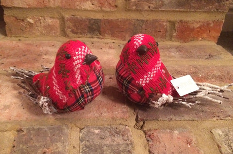 Christmas Robins - Rustic Tartan Patchwork Bird Decorations