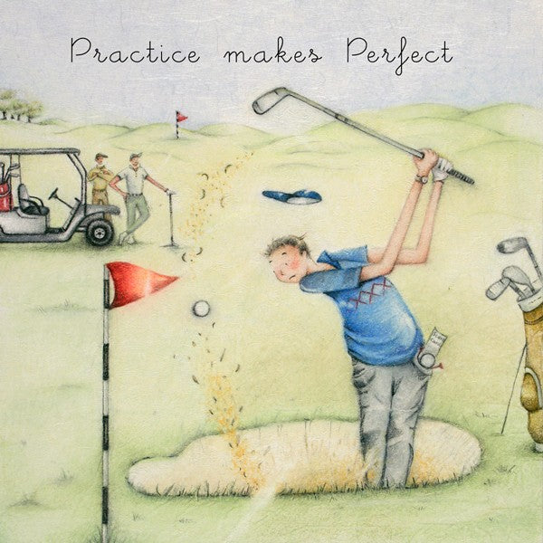Golf Birthday Card - Practise Makes Perfect - By Berni Parker