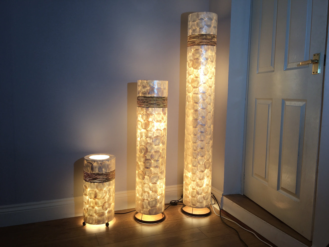 Shell and rattan lamps