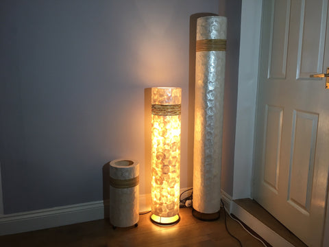 Shell and Rattan Floor Lamp - 100cm