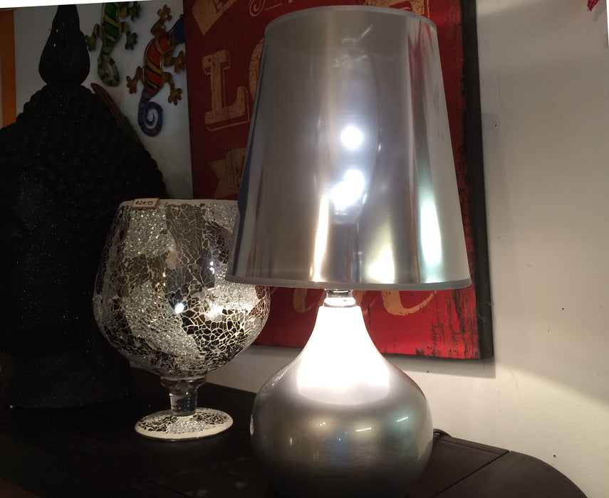 Metallic Silver Table Lamp
