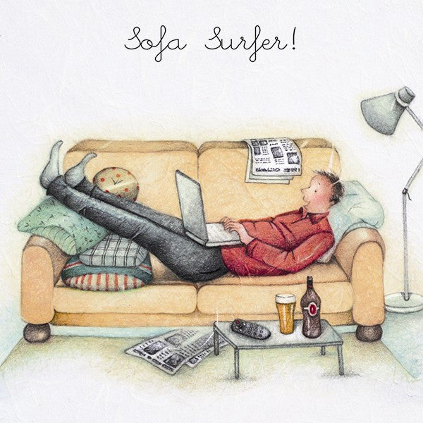 Computer Greeting Card for him - Sofa Surfer ! Berni Parker
