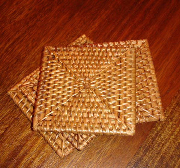 Square Java Rattan Coasters - Set of 6