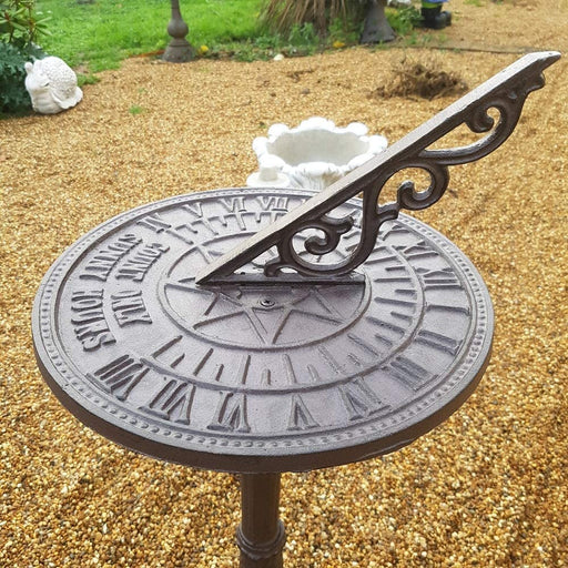 Cast Iron Free Standing Sunny Hours Garden Sundial
