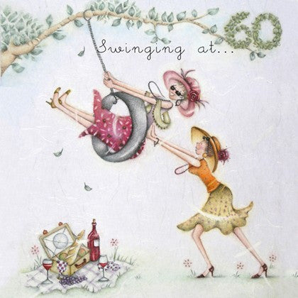 Ladies 60th Birthday Card - Swinging at ... 60