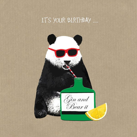 Gin Card, Gin and Bear it. From Sally Scaffardi Design