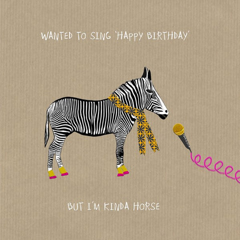 Zebra Card, Kinda Horse. From Sally Scaffardi Design