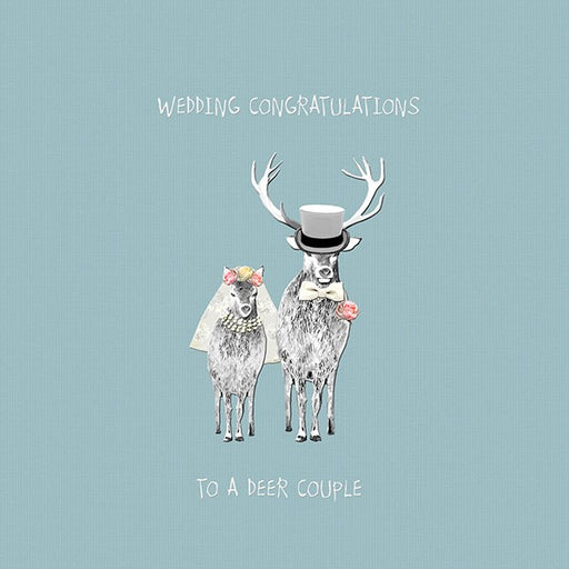 Wedding Card, To A Deer Couple. From Sally Scaffardi Design