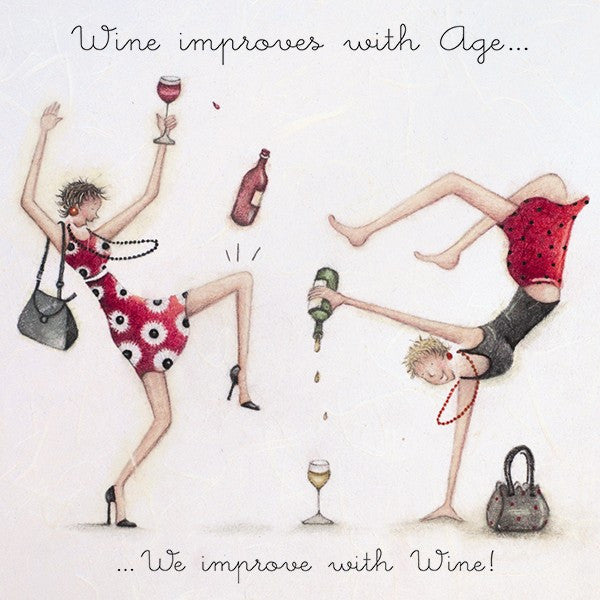 Greeting Card - Wine improves with Age... From Berni Parker