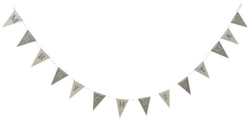 Wooden MERRY CHRISTMAS Garland - Silver and White