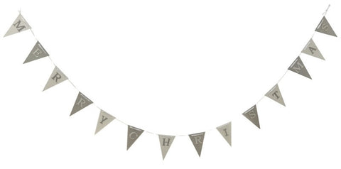 Wooden MERRY CHRISTMAS Garland - Silver and White Christmas Bunting