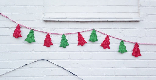 Christmas Bunting - Red and Green Fabric Christmas Trees