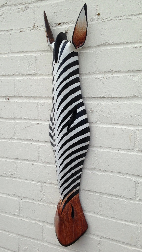 Hand Carved Black and White Zebra Tribal Mask - 80cm