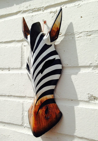Hand Carved Black and White Zebra Tribal Mask - 30cm