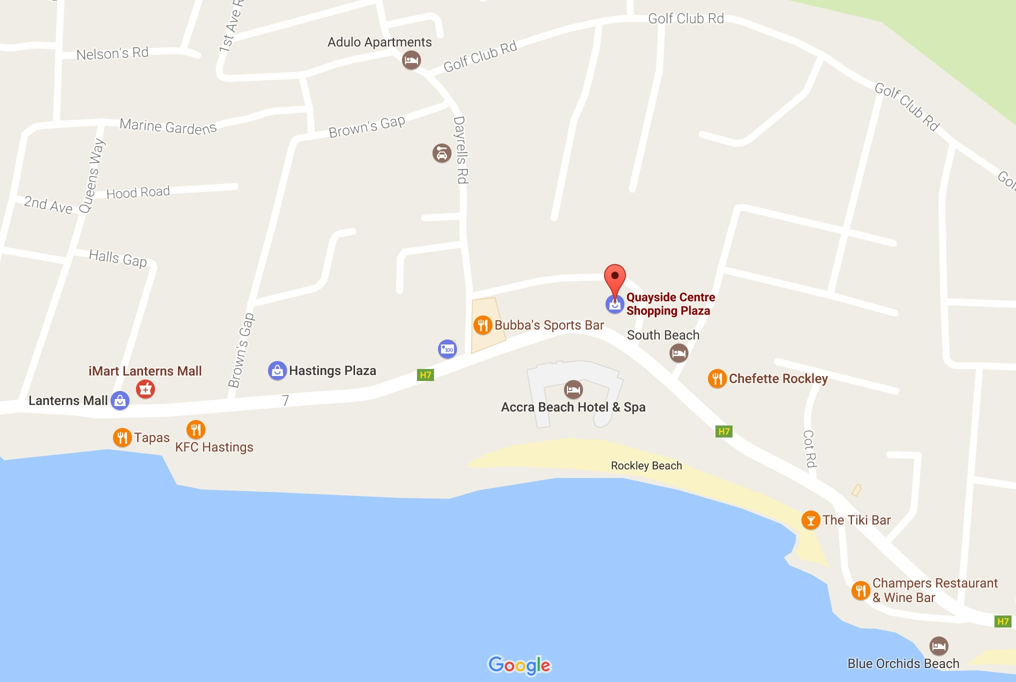 Map of Quayside Centre, Rockley, Barbados