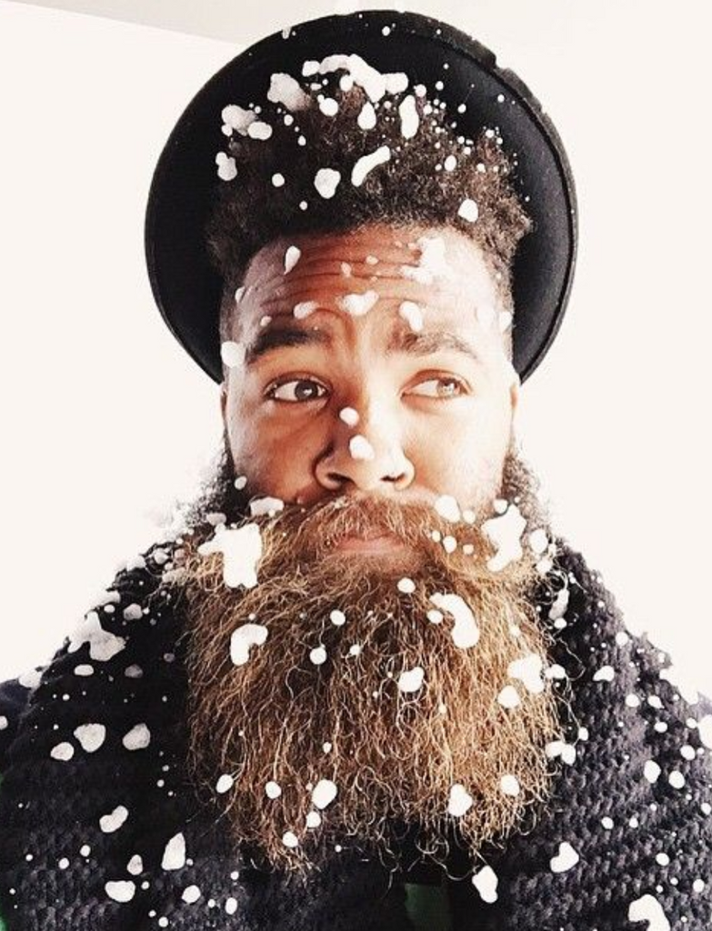 Winter beard care for curly hair