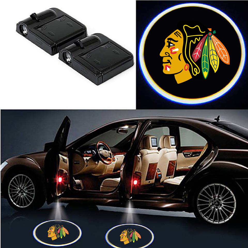 2 Wireless LED Laser Chicago Black Hawks Shadow Car Door Light