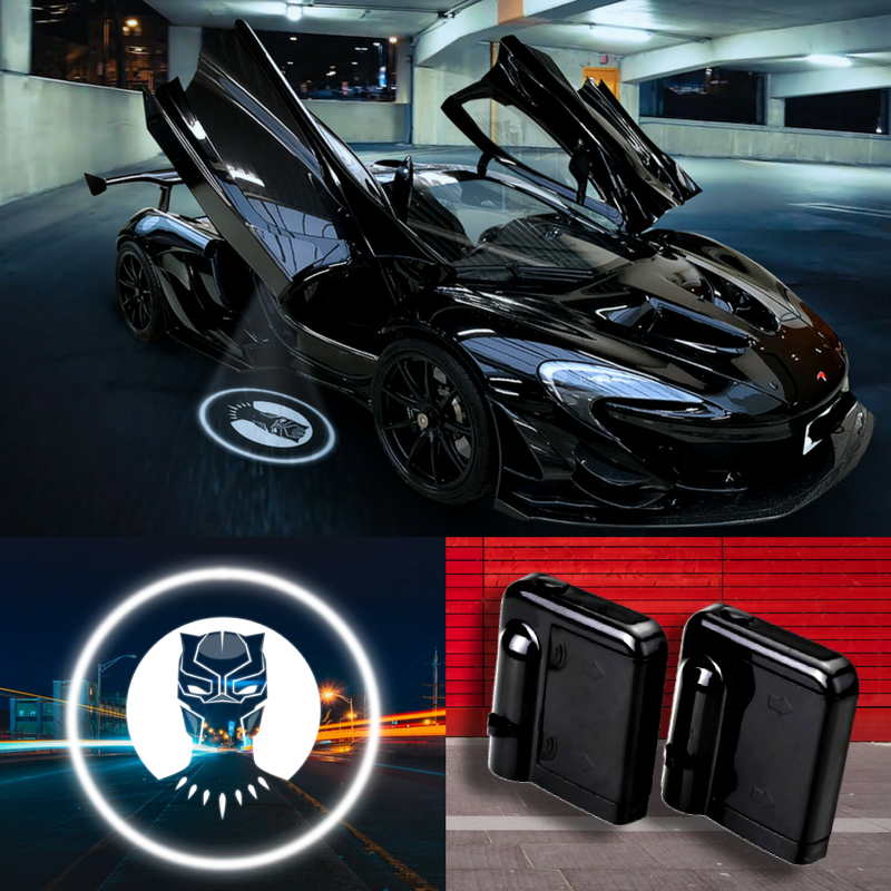 2 Wireless LED Laser Black Panther Car Door Light