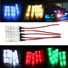 5pcs 12V 3528 5 Colors LED Flexible Strip Light Atmosphere Lamp Foot Decorative Light Lamp Car Strobe Flash Lighting Waterproof