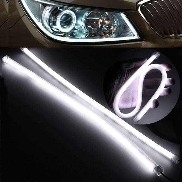 2 45CM Gel Silicon Pure White Flexible Soft Tube Daytime Running Light