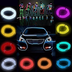5M Multicolor Wire Tube Rope Battery Powered Flexible Neon Light Car With Controller