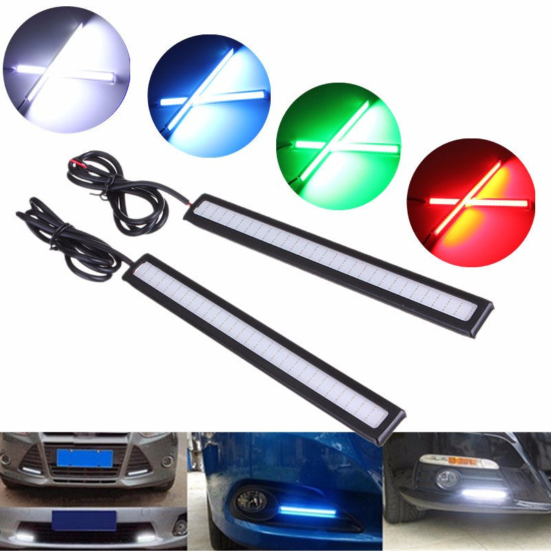 2pcs 14cm Car COB LED Daytime Running Light External Lights DRL Fog Head Lamp White/Blue/Ice Blue/Red Car Styling DC12V