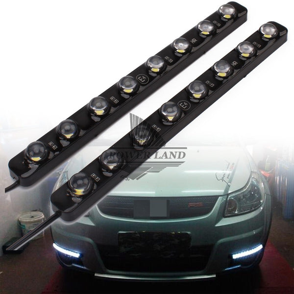 2 LED High Power 8LEDS White Daytime Running, Fog Warning, Universal Fit