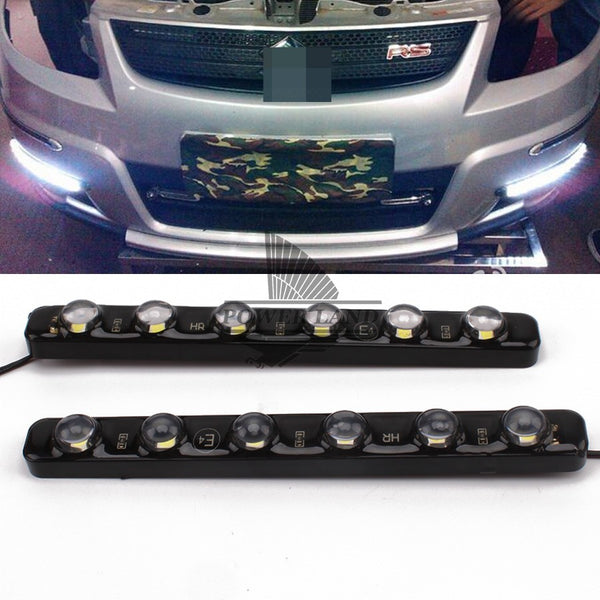 2 6 LEDS White Daytime Running Light Fog Warning, Universal Fit