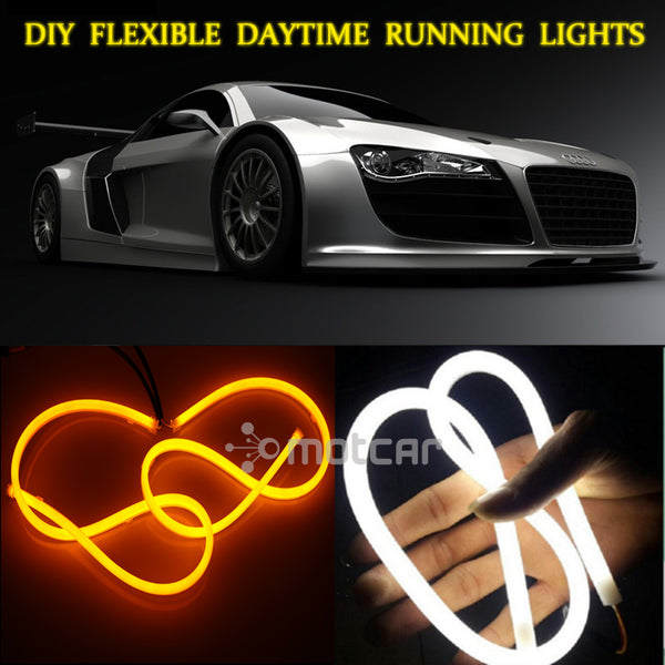 (White+Yellow) Flexible Headlight Daytime Lamp Switchback Strip Angel Eye Decorative Light With Turn Signal