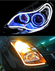 (White+Red) Flexible Headlight Daytime Lamp Switchback Strip Angel Eye Decorative Light With Turn Signal