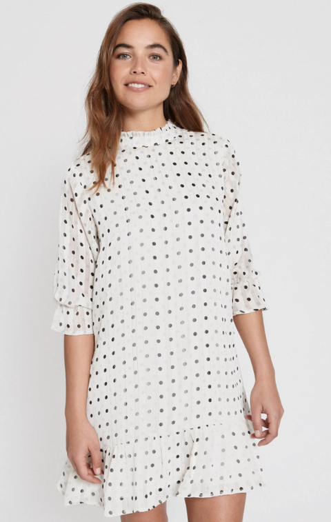 Alina Dress - White Dot Chiffon