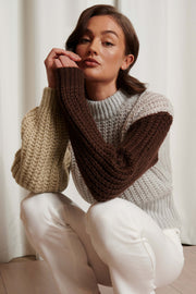 Three Color Knitted Sweater - Multicolor