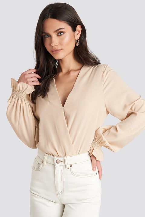 Wrap Over Blouse - Light Beige