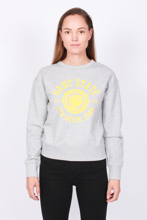 Peony Logo C-neck Sweat - Light Grey Melange