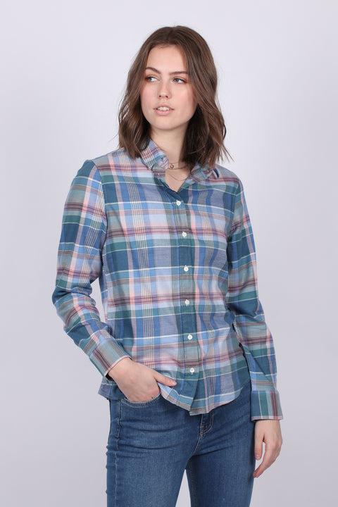 Winter Twill Madras Check Shirt - Mid Blue