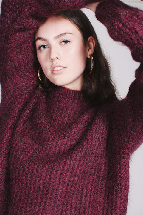 Lotte Chunky Knit - Burgundy