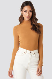 Ribbed Polo Knitted Sweater - Golden Sand (4187287683107)