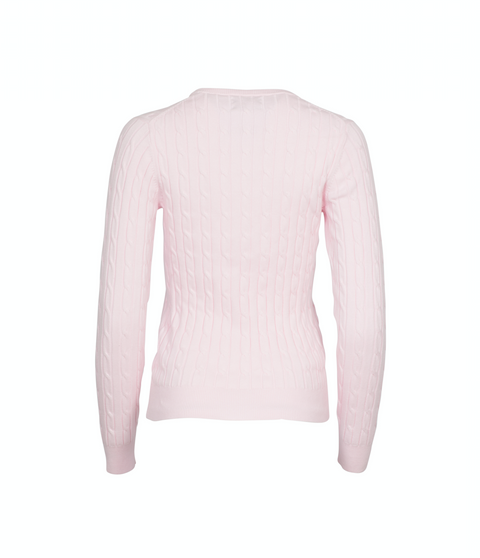 Stretch Cotton Cable Crew - Light Pink