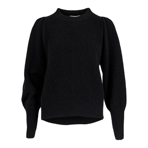 Kelsey Knit Blouse - Black (4428799869037)