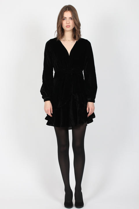 Ivy Dress - Black Velvet (4325688049773)